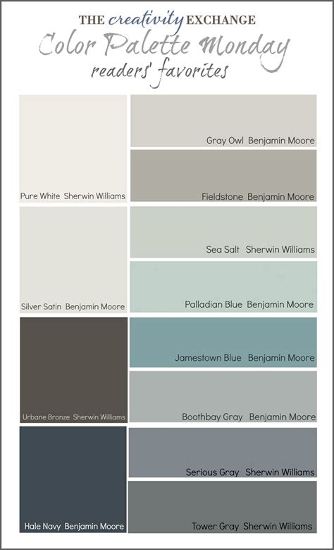 paint colors grey readers favorite paint colors color palette monday