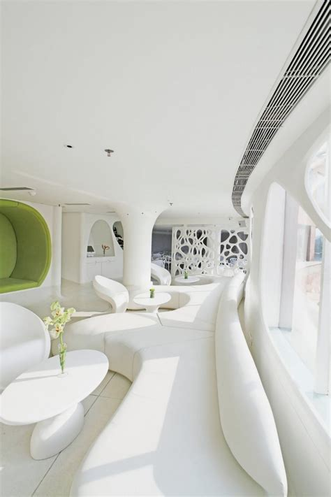 organic interior design modern restaurant with white and soft organic interior