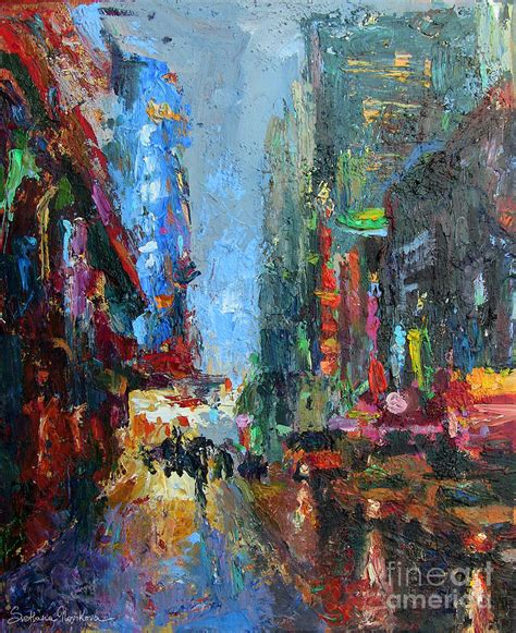 acrylic painting nyc new york city 42nd painting painting by svetlana