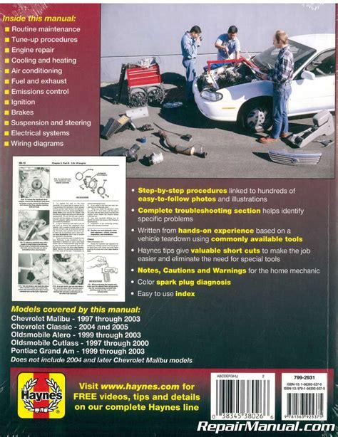 free car repair manuals 1997 pontiac grand am free book repair manuals haynes gm chevrolet oldsmobile alero cutlass and pontiac grand am 1997 2003 auto repair