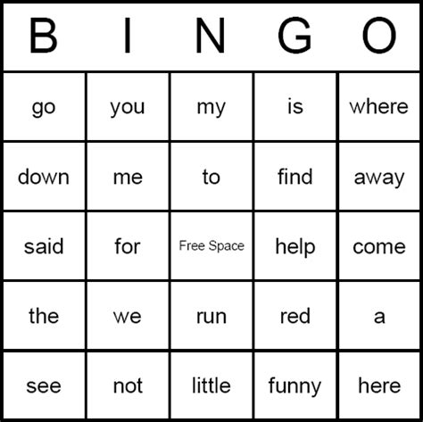 make a bingo card with words dolch sight words bingo cards free printable and