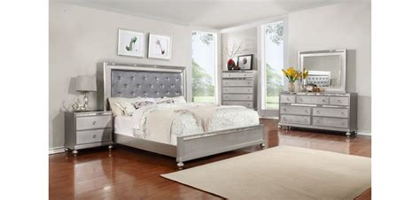 silver bedroom furniture sets b4183 contemporary bedroom set in silver finish
