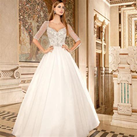 sparkly beaded wedding dresses 2016 half sleeve wedding gowns sweetheart bling bling