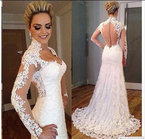 wedding dress beaded back aliexpress buy sleeves vintage lace mermaid