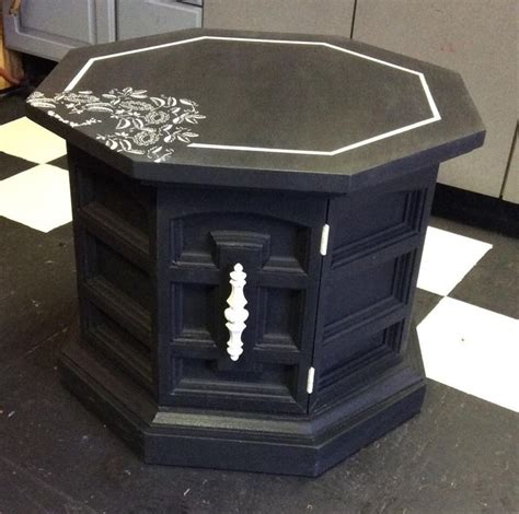 chalk paint end tables recycled vintage octagon end table used diy chalk paint