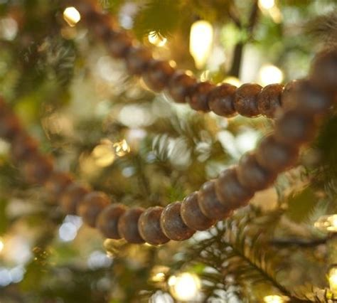 wooden bead garland for trees wood bead garland winter