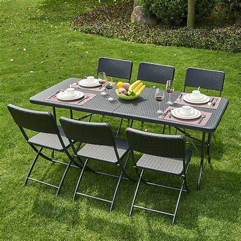 table pliante pvc tress 233 6 chaises coloris noir trigano store