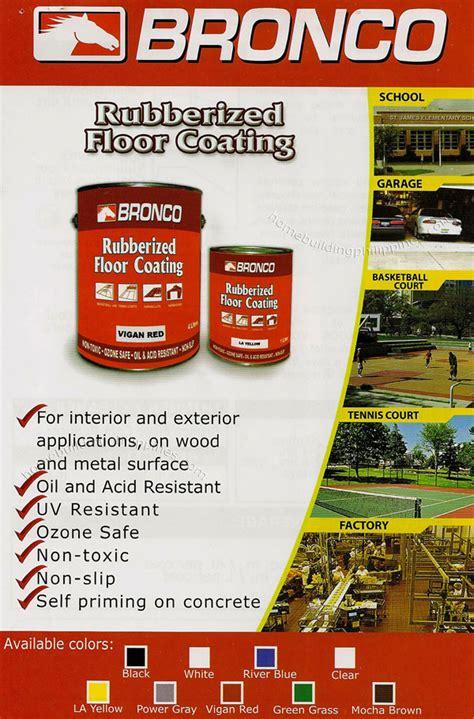 Home Depot Interior bronco rubberized floor coating philippines