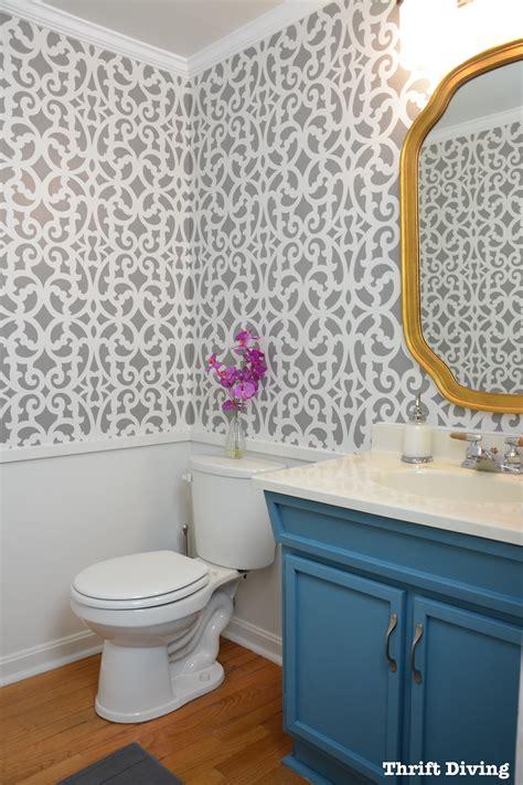 bathroom wall stencil ideas my colorful gray bathroom makeover with a wall stencil