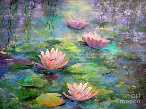 acrylic painting water lilies waterlilies painting by madeleine holzberg