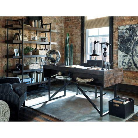rustic home office desks modern rustic industrial home office desk with steel base