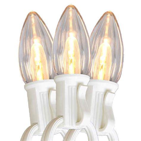50 warm white led c7 light strand white wire