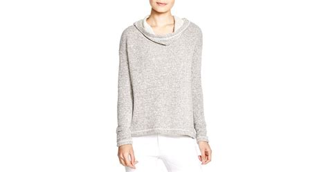 twill knit eileen fisher twill knit hoodie in gray ash lyst