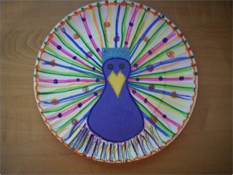 peacock paper plate craft paper plate peacock india and crafts for