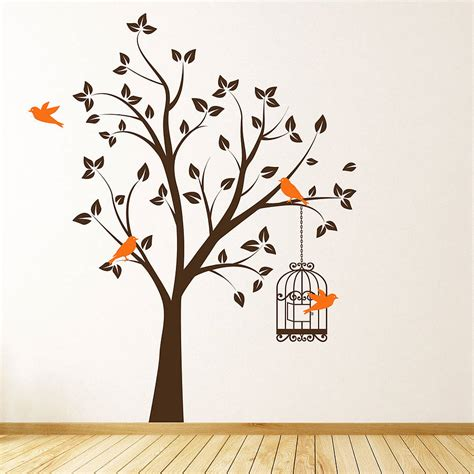 wall decor tree stickers tree with bird cage wall stickers by parkins interiors