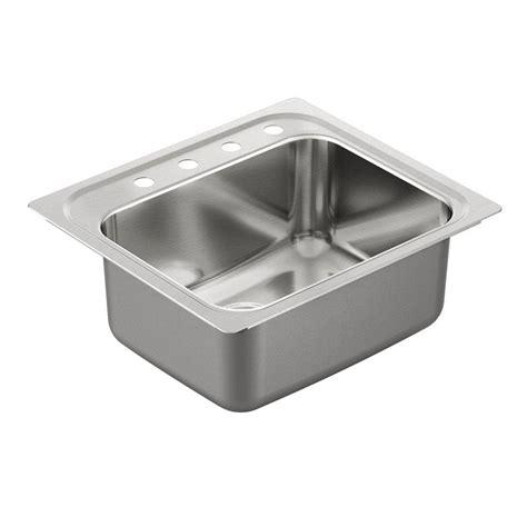 stainless steel drop in kitchen sink moen 1800 series drop in stainless steel 25 in 4