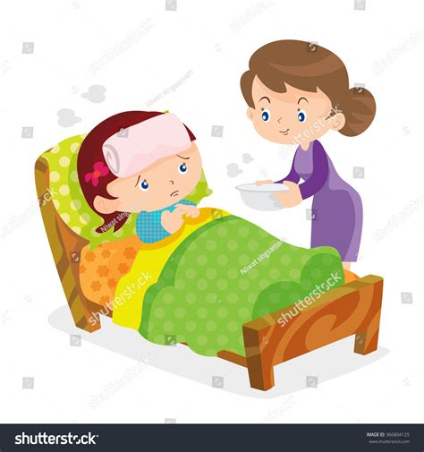 Loving Family Kids Bedroom mother taking temperature sick daughter home stock vector