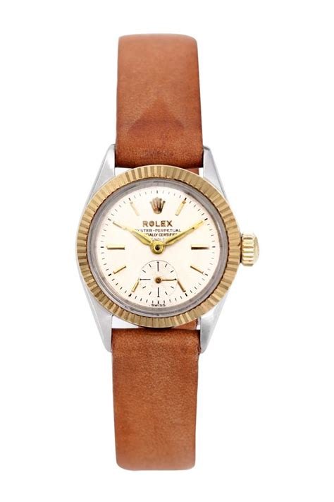 womens watches leather band vintage rolex s oyster perpetual leather band hautelook style