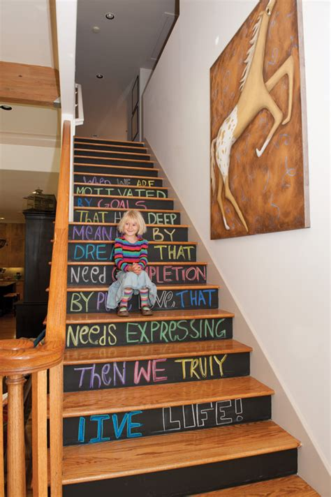 chalk paint stairs inspired whims because chalkboard paint never gets