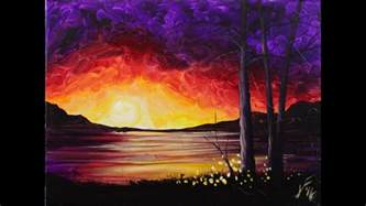 can acrylic paint go on canvas sunset at the lake step by step acrylic painting on canvas