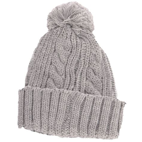 grey knit hat stretch cable knit ski hat with pom pom bobble biscuit