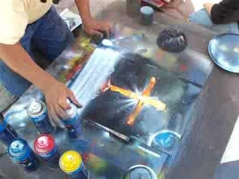 spray painter harolds cross spray paint abolutely amazing painting of cross