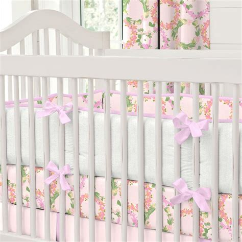 floral crib bedding pink floral wreath crib bedding carousel designs