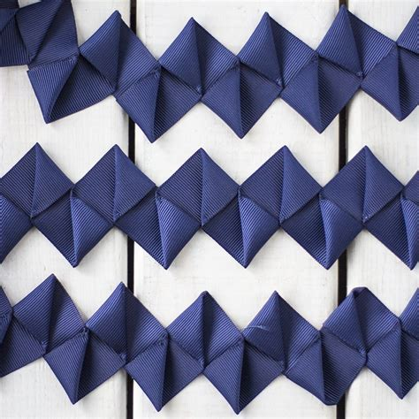 how to make a origami ribbon zigzag origami ribbon trim in navy sew crafty
