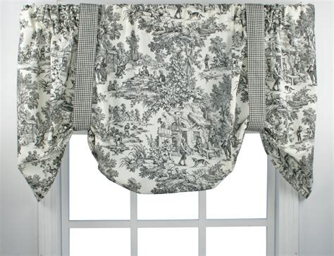toile kitchen curtains park toile tie up valance thecurtainshop
