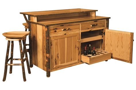 Solid Wood Kitchen Island Cart amish hickory home wine bar kitchen island set w stools