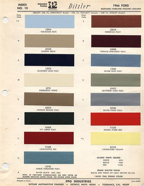 paint colors and codes 1966 ford mustang color chart with paint mixing codes