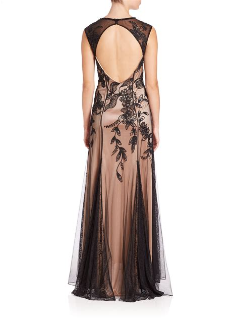 black beaded gown sue wong beaded floral detail gown in black lyst