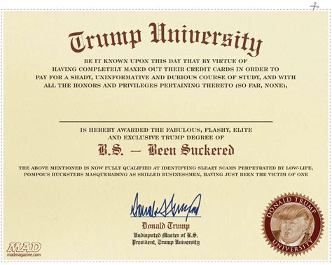 mad exclusive trump university s diploma revealed mad