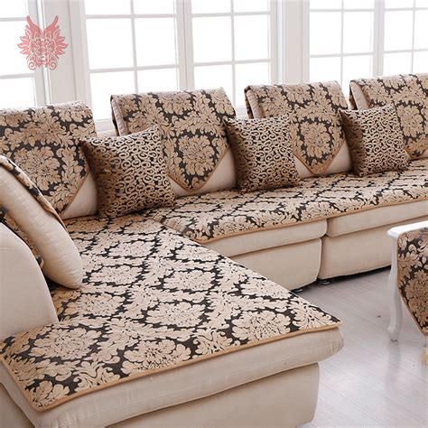 black slipcovers for sofas europe black gold floral jacquard terry cloth sofa cover