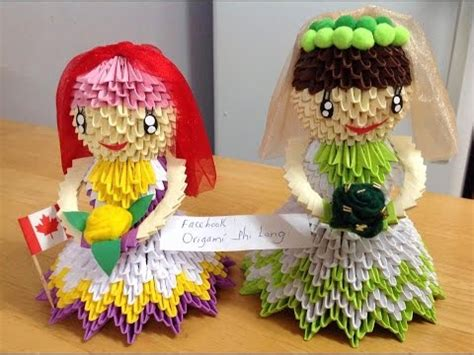 3d origami and groom how to make origani 3d or doll tutorial