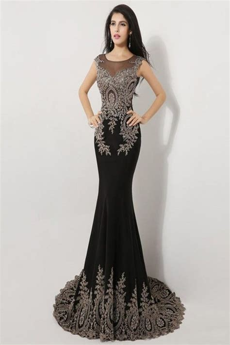 beaded prom dress sweep black cap sleeve beaded prom dresses