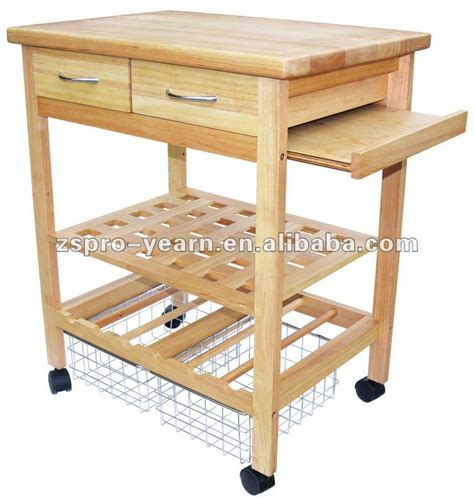 Kitchen Trolley Island service de cuisine en bois chariot panier avec 4 tiers 2