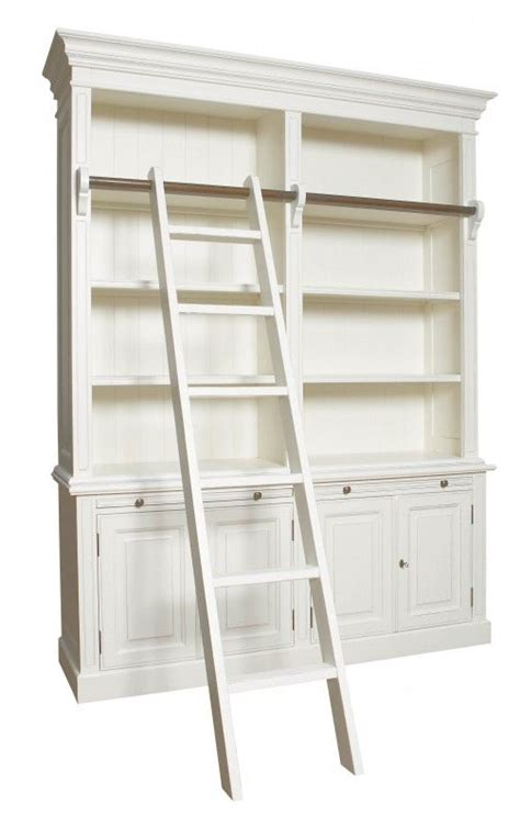 antique white bookshelves bookcase with ladder antique white or black