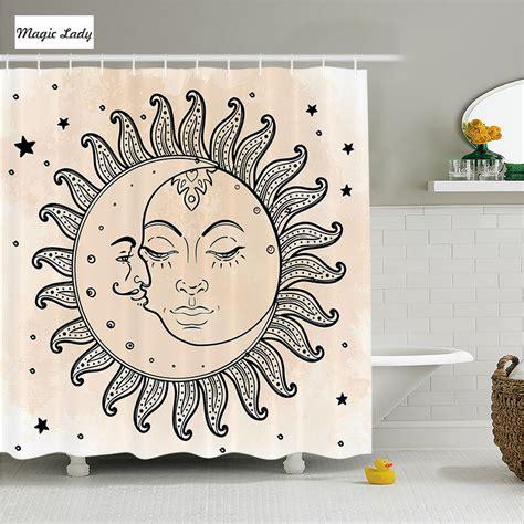 zodiac bathroom accessories shower curtain fabric bathroom accessories sun moon starts