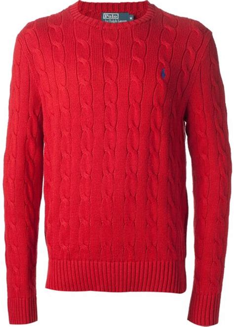 polo cable knit sweater polo ralph cable knit sweater in for lyst