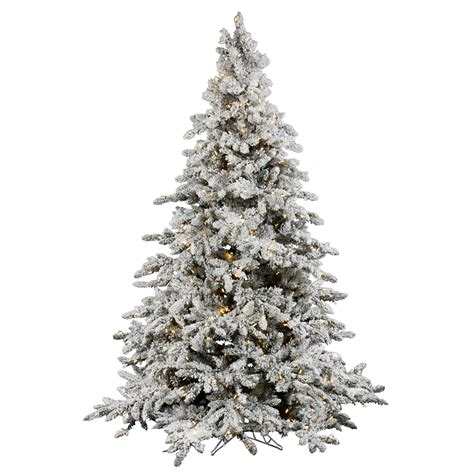 flocked white tree 9 foot flocked utica fir tree warm white