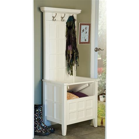 home styles 174 white mini hall tree amp storage bench 163285
