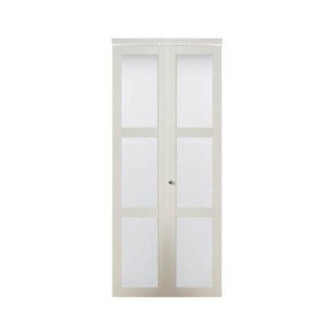 bifold closet doors with frosted glass truporte fold 3080 white composite 3 lite tempered frosted