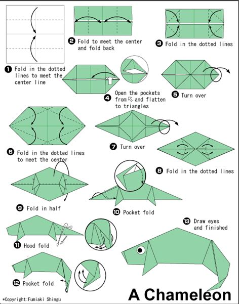 origami lizard diagram chameleon easy origami for