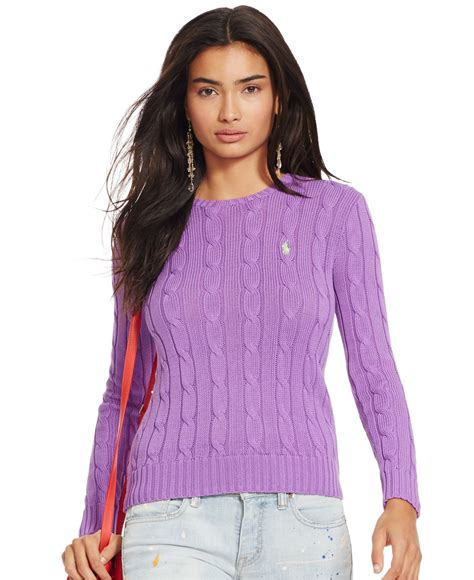 womens ralph cable knit sweater polo ralph cable knit crewneck sweater in purple lyst