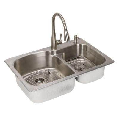 all in one kitchen sinks glacier bay all in one dual mount stainless steel 33 in 2