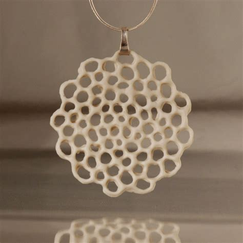 ceramic jewelry porcelain and silver necklace made to order hanako floral