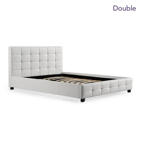 size pu leather quilted bed frame in white buy