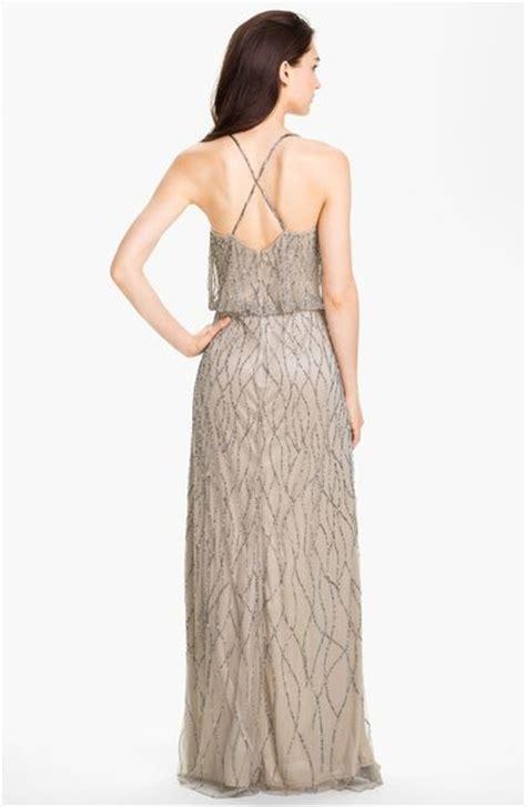 beaded mesh blouson gown papell beaded mesh blouson gown in beige
