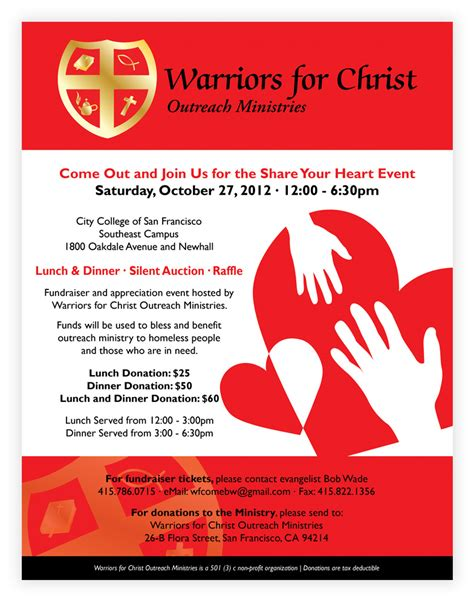 front page for a project warriors for christ outreach ministries mana branding